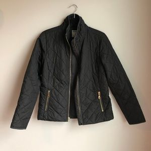 Old Navy Black Quilted Jacket W. Gold Accents sz S